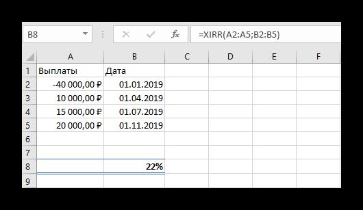 Использование функции XIRR в Microsoft Excel