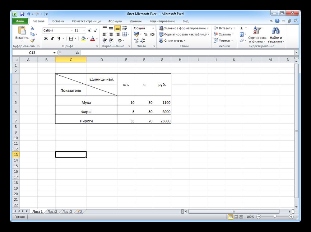 Пример таблицы с диагональным делением Excel