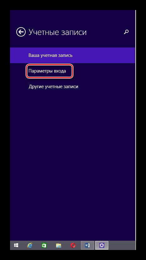 Вкладка Параметры входа Windows 8