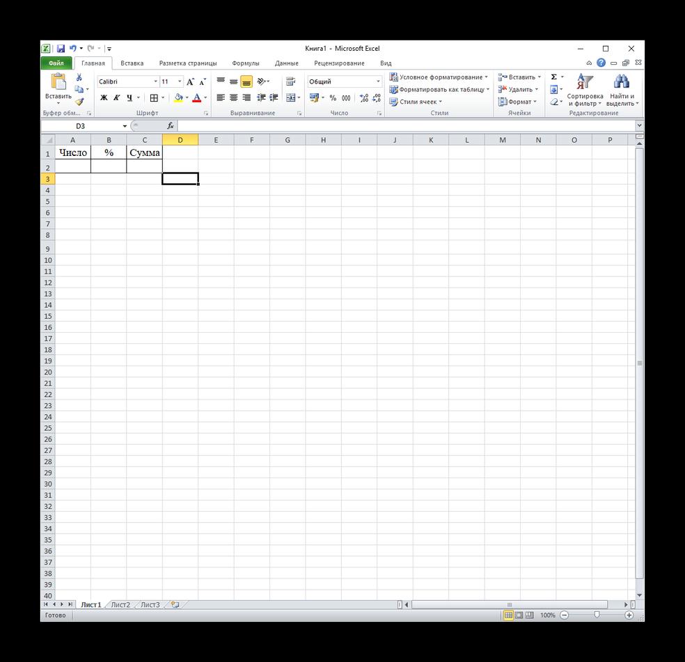 Примерный вид таблицы для формулы вычисления суммы числа и процента в excel