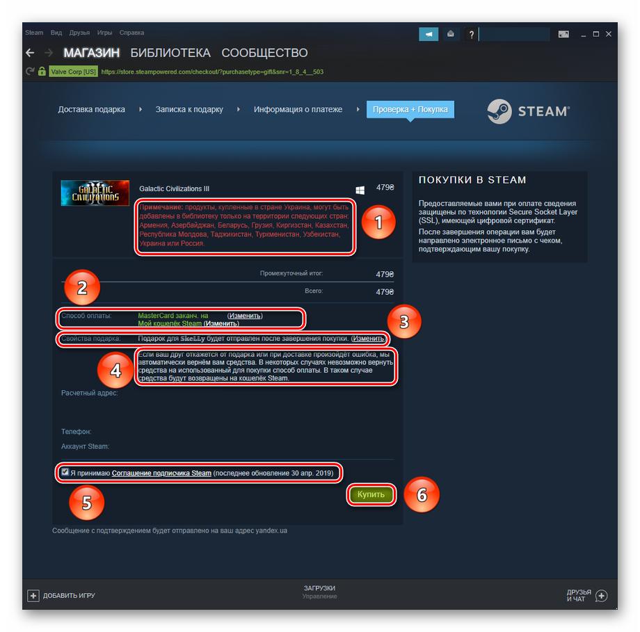Проверка данных и предупреждения перед покупкой подарочной игры в Steam