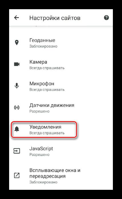 Управление оповещениями в Google Chrome на Android