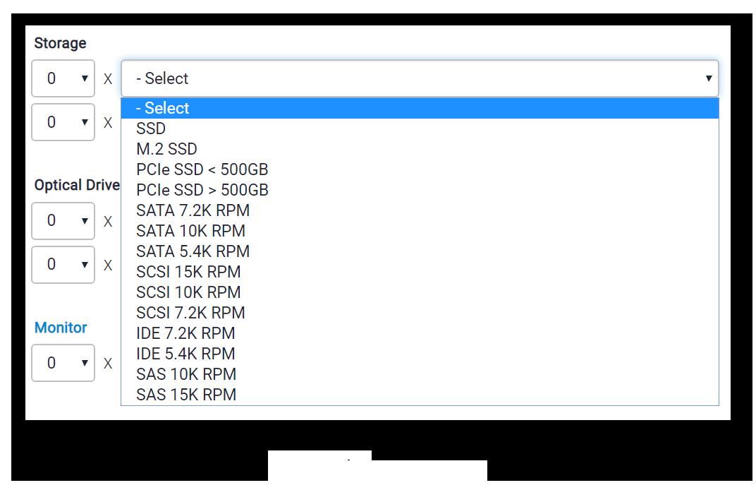выбор жесткого диска при вычислении энергопотребления компьютера