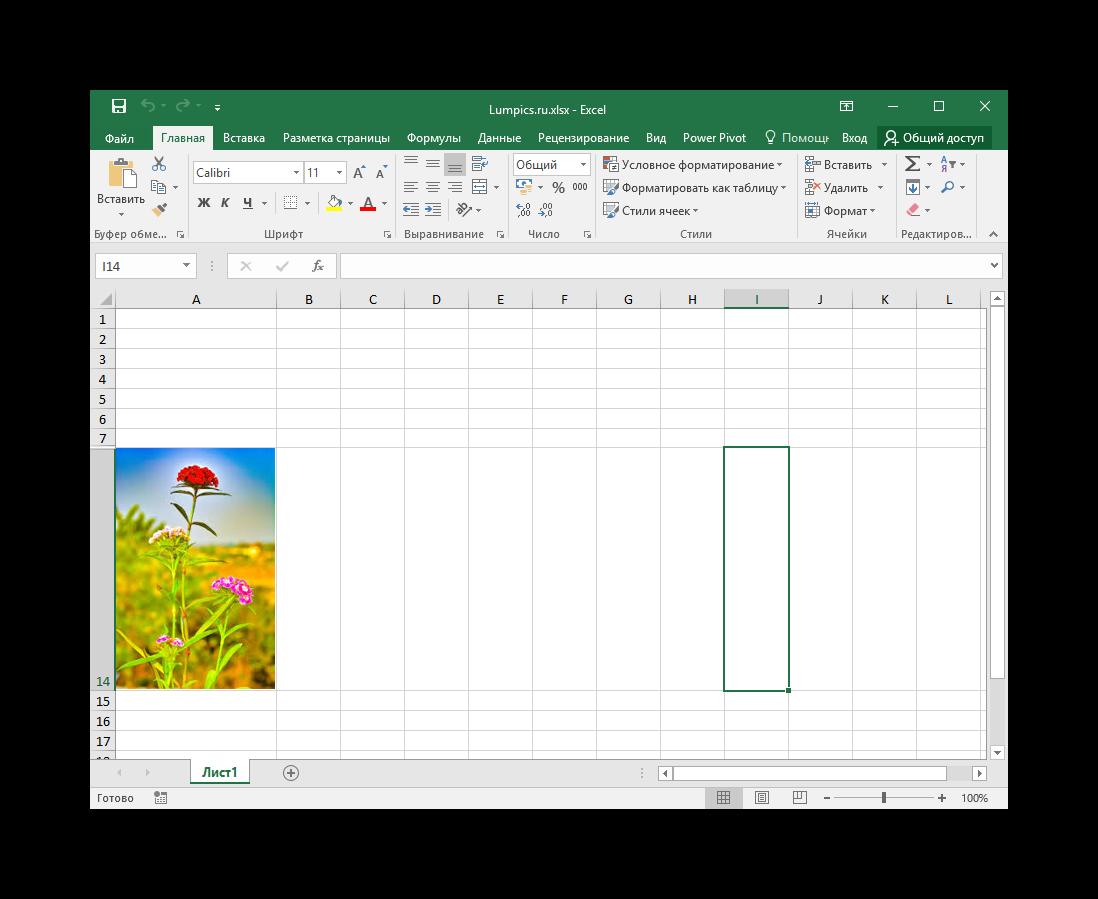 Задание размеров изображения и его вставка в ячейку в Microsoft Excel