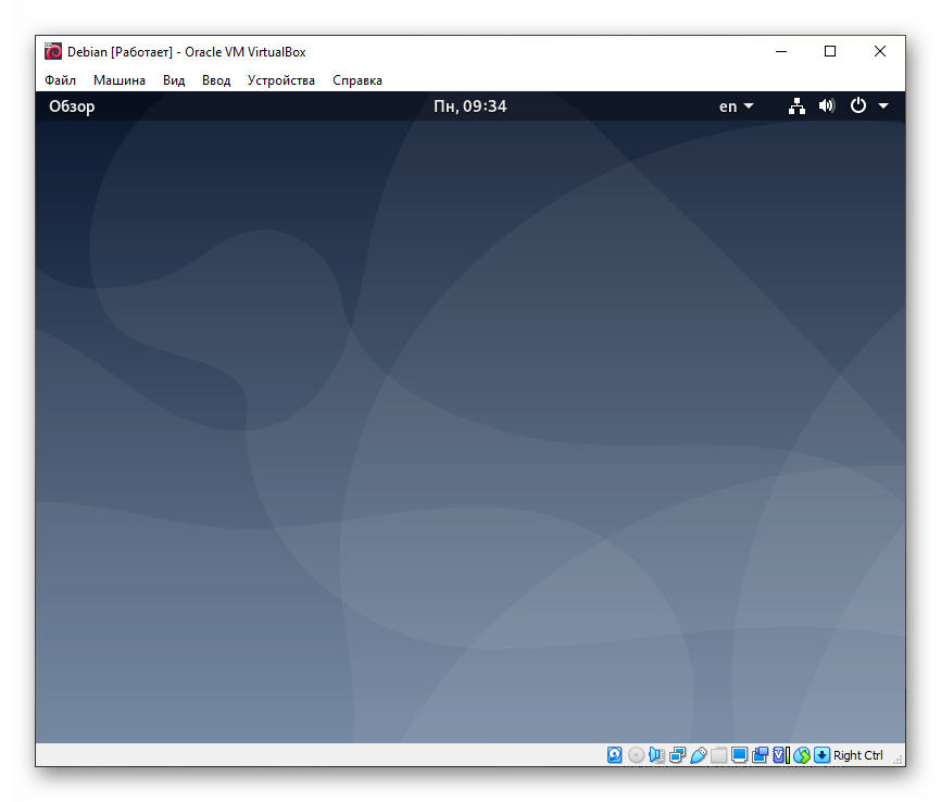 ОС Debian установлена на VirtualBox