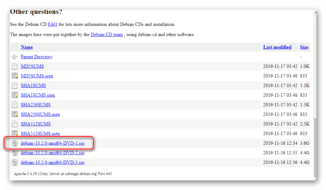 Ссылка для скачивания установочного образа ОС Debian на официальном сайте