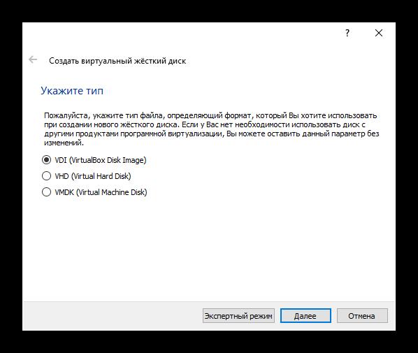 Формат нового виртуального диска Debian в VirtualBox